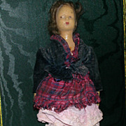 Very Old Rubber Doll Painted Features Mohair Wig