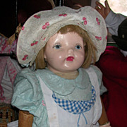 Vintage 25 Inch Composition And Wood Walking Doll
