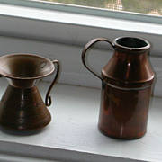 Two Miniature Vintage Copper Pitcher And Spittoon