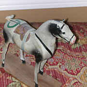 Antique Papier Mache And Wood Horse Pull Toy Doll Size