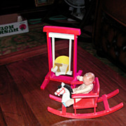 Two Wooden German Miniature Doll Toys Swing And Rocking Horse
