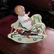 Vintage Tiny Rocking Horse With Composition Baby