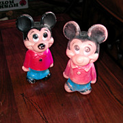 Two 5 Inch Plastic 1961 Mickey Mouse Dolls