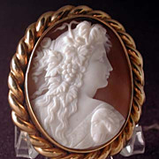Museum quality carved cameo of Dionysus in heavy gold setting