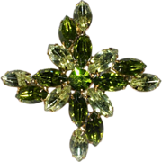 SALE Yellow-Green Large Rhinestone Brooch