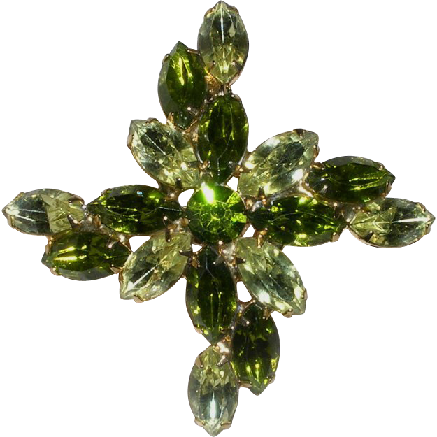 Yellow-Green Large Rhinestone Brooch