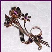 SALE Purple Retro Sterling Pin