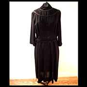 1940s Basic Black Day Dress