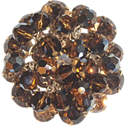 Rhinestone and Crystal Dangles Pin - Shades of Topaz