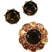 1960s Chunky Topaz Colored Set