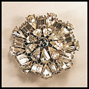 Gorgeous Clear Rhinestone Pin c. 1945