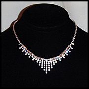 Dazzling Rhinestone Fringe Necklace