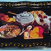 SALE Vintage 1950's Tole Tray Featuring Coke And Appetizers