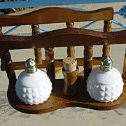 SOLD Milk Glass Salt & Pepper Shakers Made In Japan  With Wooden Napkin Holder - Red Tag Sale