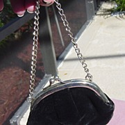 SOLD Child's Black Velvet Purse With Chain