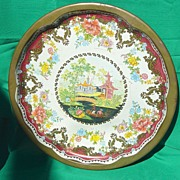 SALE Vintage  Serving Tray  Daher Oriental Theme Round