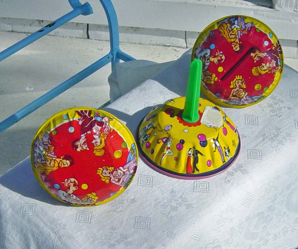 Lot Of Three Vintage Metal Colorful Noisemakers