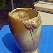 SOLD Vintage Frankoma Rams Head Desert Gold Vase