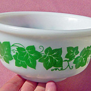 SALE Vintage Anchor Hocking Green Ivy Small Mixing Bowl