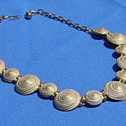 SALE Textured Snail Design Linked Necklace