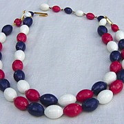SALE Vintage West Germany Beaded Red White Blue Two Strand Necklace