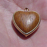 "SALE Vintage 1962 Sarah Coventry ""Goin' Steady"" Puffy Wood Look Heart Charm"