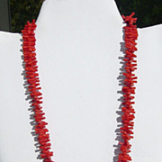 SALE Vintage Faux Branch Coral Necklace