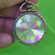 SALE Vintage Psychedelic Reflective Colorful Disk Pocket Watch Look Pendant Pin Combination