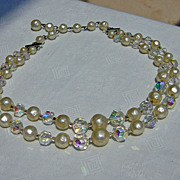 SALE Sparkling Aurora Borealis Faux Pearl Two Strand Necklace  Needs Clasp