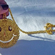 SALE Vintage Smiley Face With Dangling Rhinestone Eyes Necklace Pin Combination