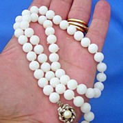 SALE Vintage White Glass Double Knotted Beaded Necklace Floral Clasp