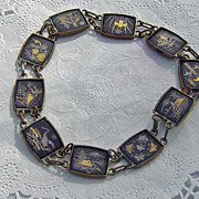 SOLD Vintage Damascene Japan Oriental Theme Link Bracelet