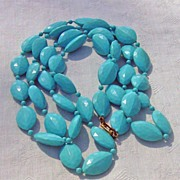 SALE Vintage Robin Egg Blue Flapper Length Faceted  Beaded Necklace