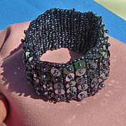 SALE Vintage Black Sequin Wide Seed Bead Stretch  Bracelet