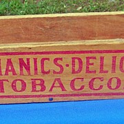 SOLD Vintage Mechanics Delight Advertising Tobacco Long Wooden Box