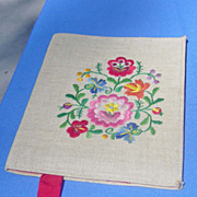 SALE Vintage Embroidered Colorful Floral Fabric Book Cover With Ribbon Bookmark