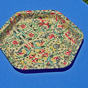 SALE Vintage Paisley Design Hexagon Shaped English Tray