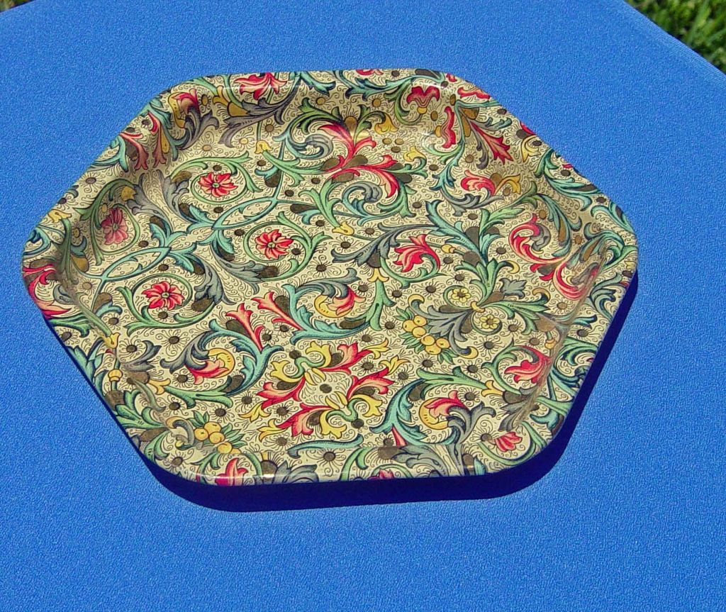 Vintage Paisley Design Hexagon Shaped English Tray