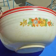 SOLD Vintage Bake Oven 1940's Floral Large Mixing Bowl