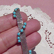 SALE Vintage Mesh Turquoise Colored Beaded Bracelet