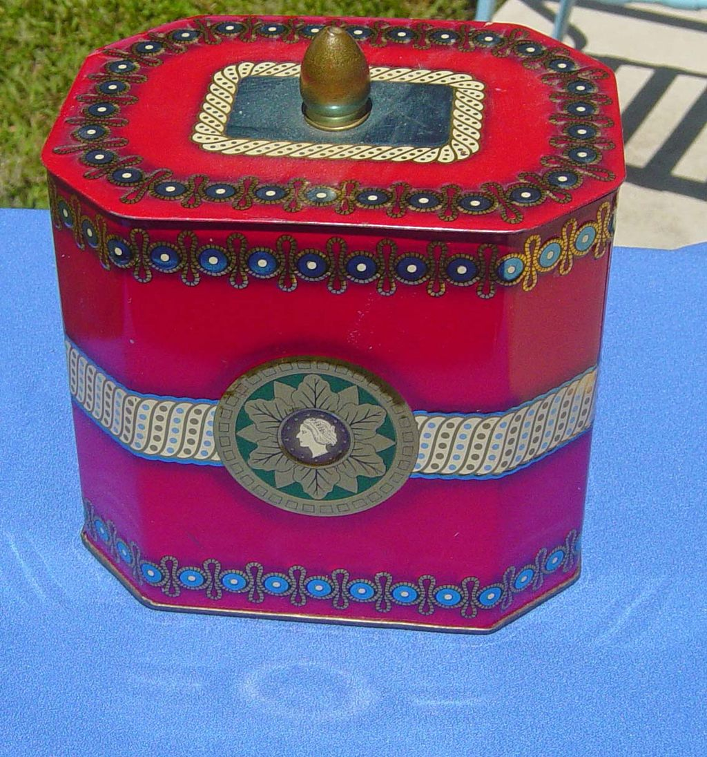 Vintage Decorative Metal Tin With Finial Top