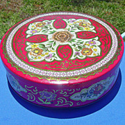 SOLD Vintage Daher Round Red Floral Metal Tin