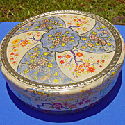 SALE Vintage Floral Motif Round Holland Tin