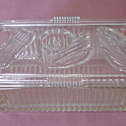 SALE Vintage Glass Refrigerator Covered  Dish With Vegetable Motifs