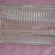SALE Vintage Glass Ribbed Refrigerator Covered Dish