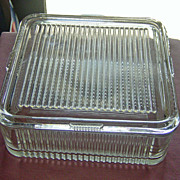 SALE Federal Glass Company Large Ribbed Refrigerator Covered Dish