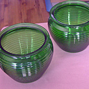 SALE Set Of Two National Potteries Company Green Ribbed Glass Vases