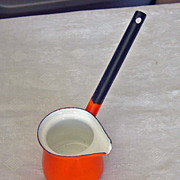 SOLD Vintage Syrup Butter Warmer  Pot 1970's  Bright Orange Made In Poland