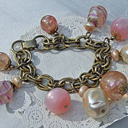 SALE Vintage Pink & White Dangling Beaded Charm Bracelet
