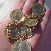 SALE Vintage British Halfpenny One Penny Center Faux Coin Charm Bracelet